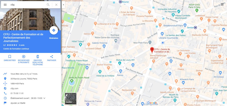 Fiche du CFPJ sur Google Map